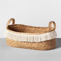 Water Hyacinth Fringe Oval Basket